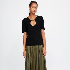 ZARA /Beaded T-shirt